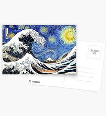 Iconic Starry Night Wave of Kanagawa Postcards