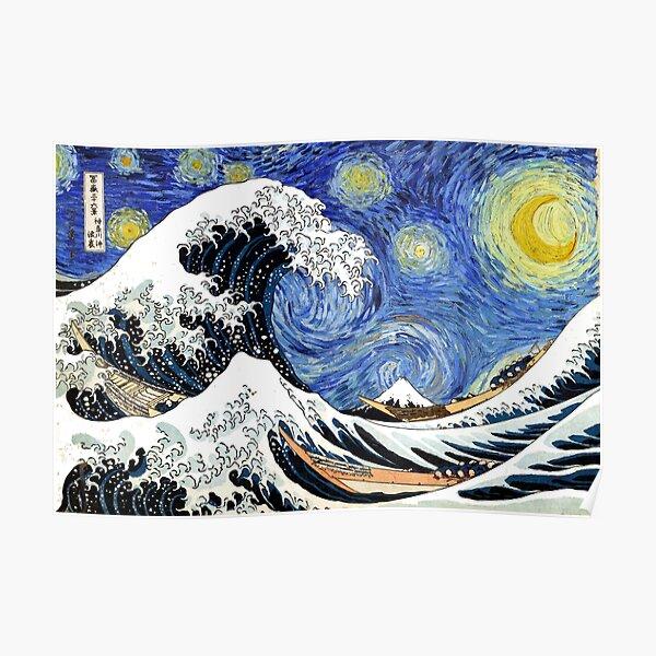 Iconic Starry Night Wave of Kanagawa Poster