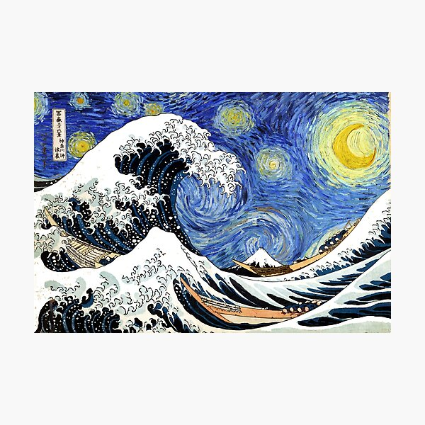 Iconic Starry Night Wave of Kanagawa Photographic Print