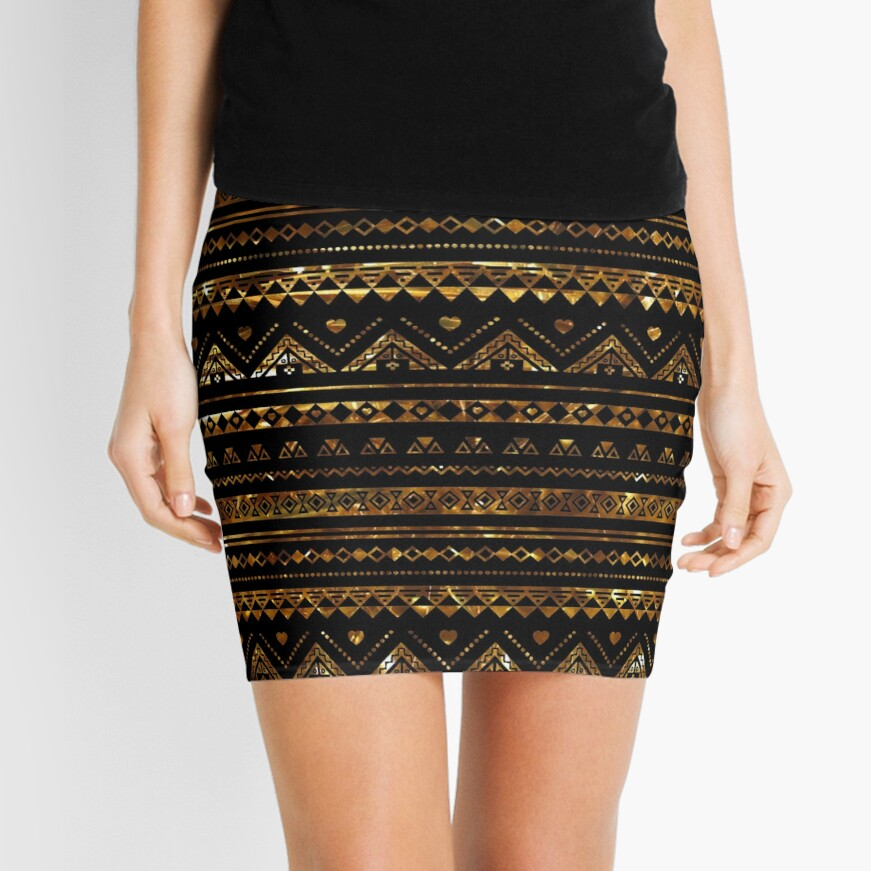 Aztec Black Tinsel Gold Mini Skirt