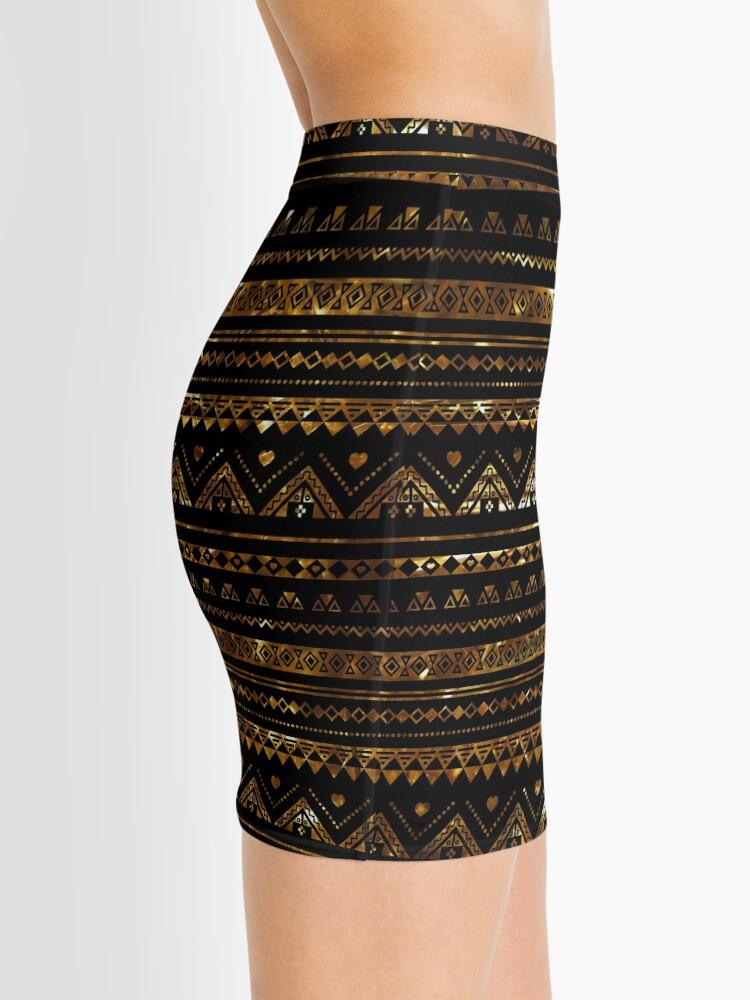 Alternate view of Aztec Black Tinsel Gold Mini Skirt