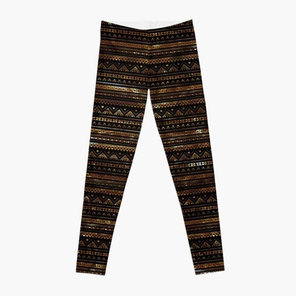 Aztec Black Tinsel Gold Leggings
