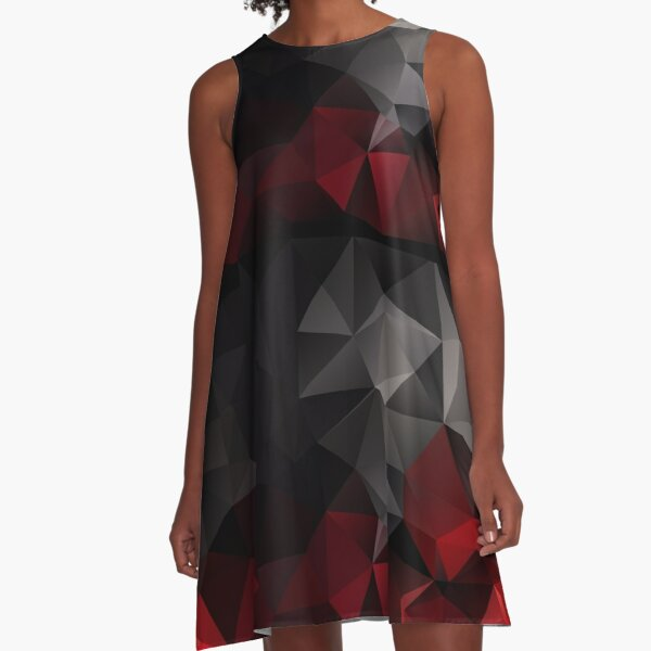Abstract background of triangles polygon wallpaper in black red colors A-Line Dress