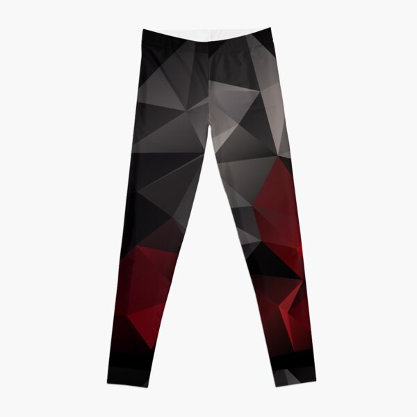 Abstract background of triangles polygon wallpaper in black red colors Leggings