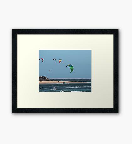 Kite Surfing @ Nobby's Framed Print