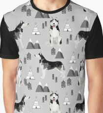 Husky siberian huskies mountains pet portrait dog dogs pet friendly dog breeds gifts by PetFriendly Graphic T-Shirt