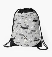 Husky siberian huskies mountains pet portrait dog dogs pet friendly dog breeds gifts by PetFriendly Drawstring Bag