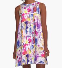 Abstract Composition - pink watercolour pattern by Cecca Designs A-Line Dress