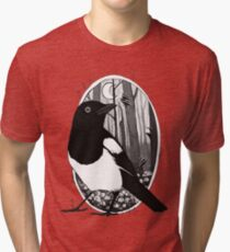 Magpie and Mushrooms Tri-blend T-Shirt