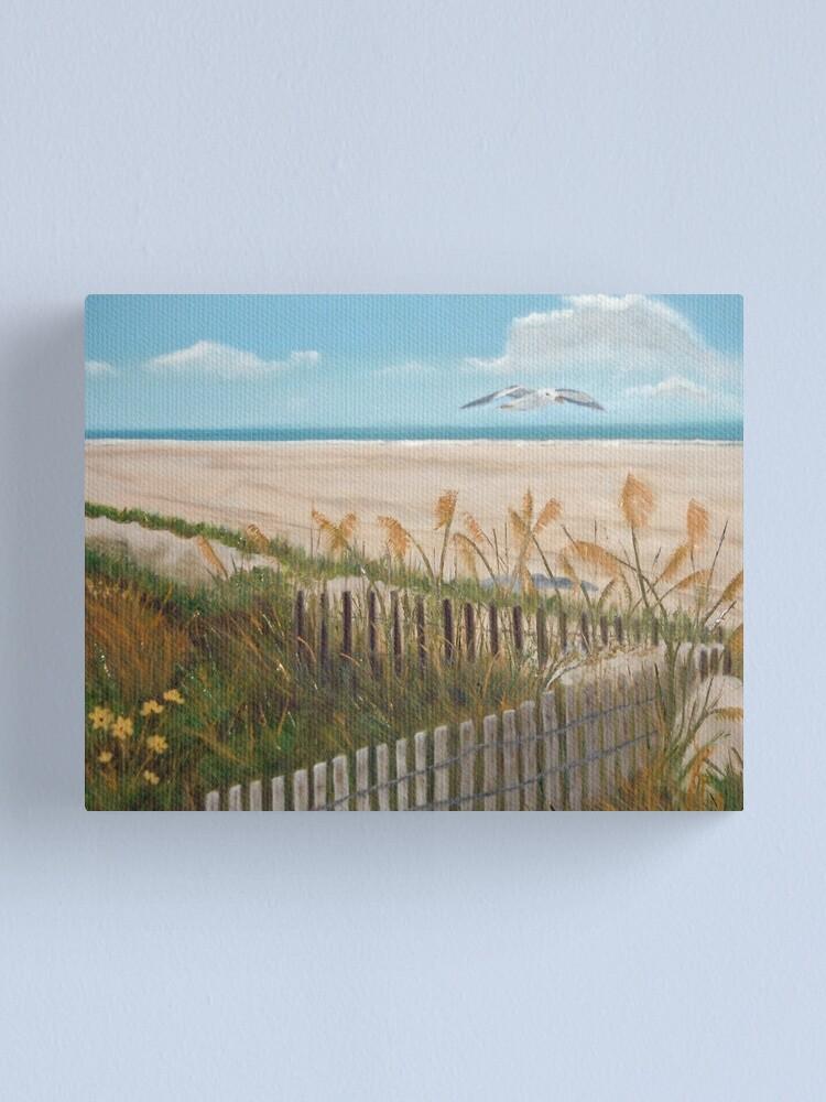 Alternate view of Soaring Seagull Beach Scene Canvas Print