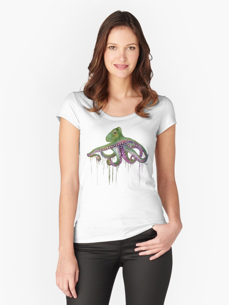 octodrippy Women's Fitted Scoop T-Shirt Front