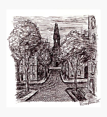 Old Odessa City pen ink drawing Photographic Print