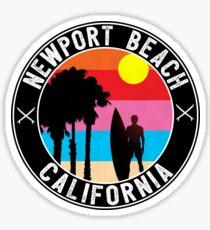 Surfer NEWPORT BEACH California Surfing Surfboard Ocean Beach Vacation Sticker