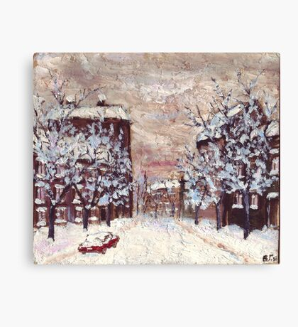 City in snow oil painting Canvas Print