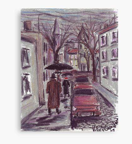 Rainy day. Pastel drawing Canvas Print