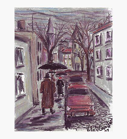 Rainy day. Pastel drawing Photographic Print