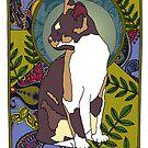 Ash - Art Nouveau Tri-colour Cat by Carrie Dennison