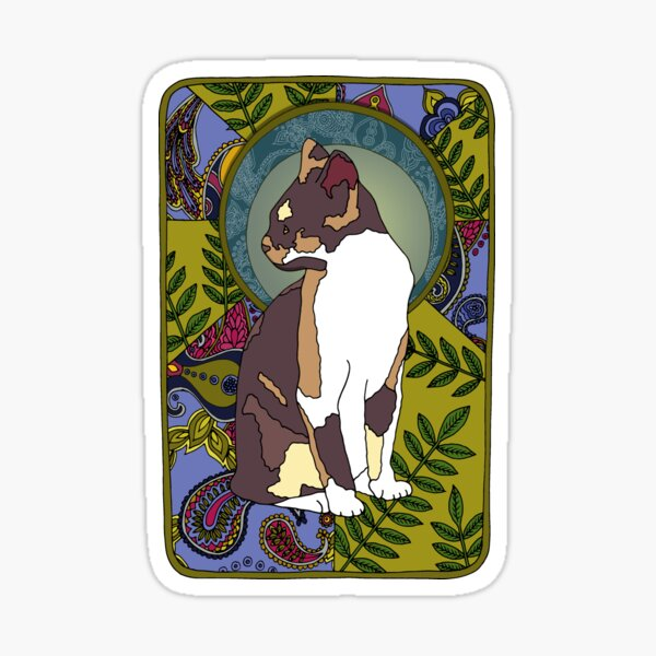 Ash - Art Nouveau Tri-colour Cat Sticker