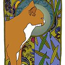 Willow - Art Nouveau Ginger Cat by Carrie Dennison
