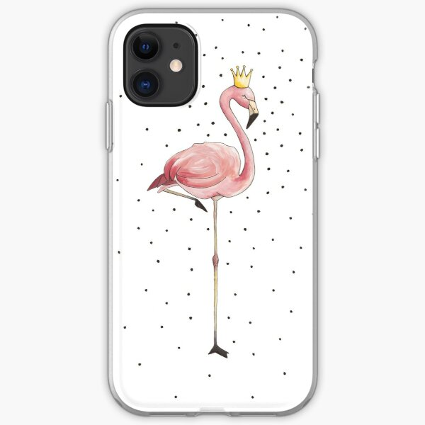 Flamingo girl with crown acrylic illustration iPhone Soft Case