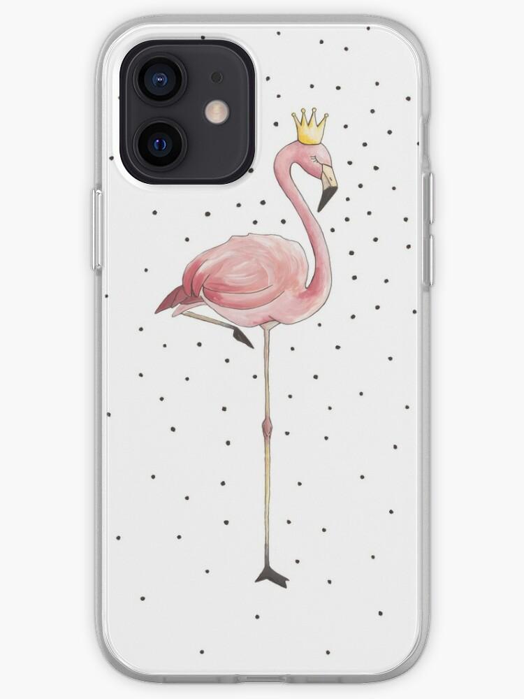 fille Flamant rose à l'acrylique couronne Illustration   Coque iPhone