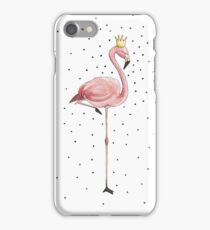 Flamingo Mädchen mit Krone Acryl Illustration iPhone Case/Skin