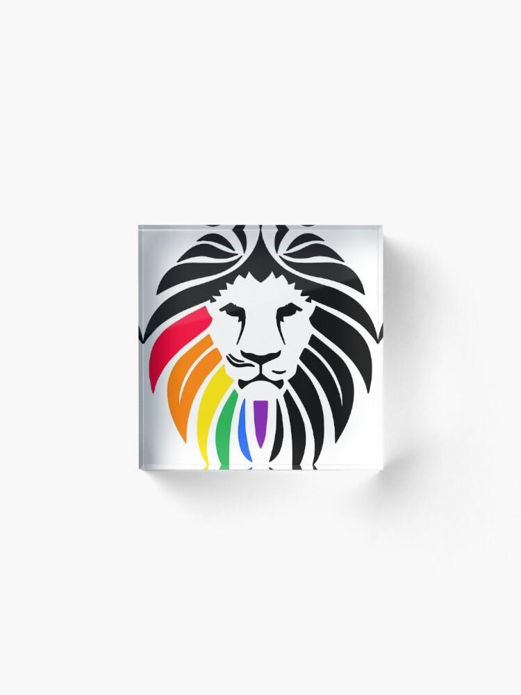 Alternative Ansicht von Regenbogen-Löwenkopf Acrylblock