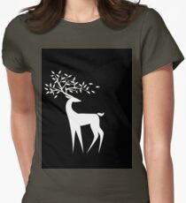 White deer on a black  background with the leaves on the horns T-Shirt