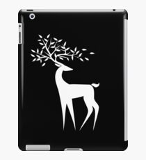 White deer on a black  background with the leaves on the horns iPad Case/Skin