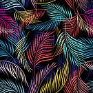 Bright pattern of leaves of palm tree by Tanor