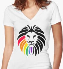 Rainbow Lion Head Women's Fitted V-Neck T-Shirt