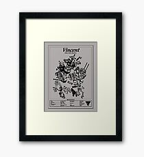 'Vincent HRD-exploded drawing' T-shirt etc Framed Print