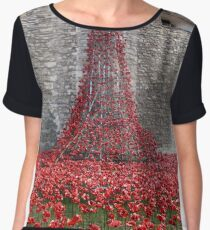 A Cascade Of Poppies At The Tower Of London Chiffon Top