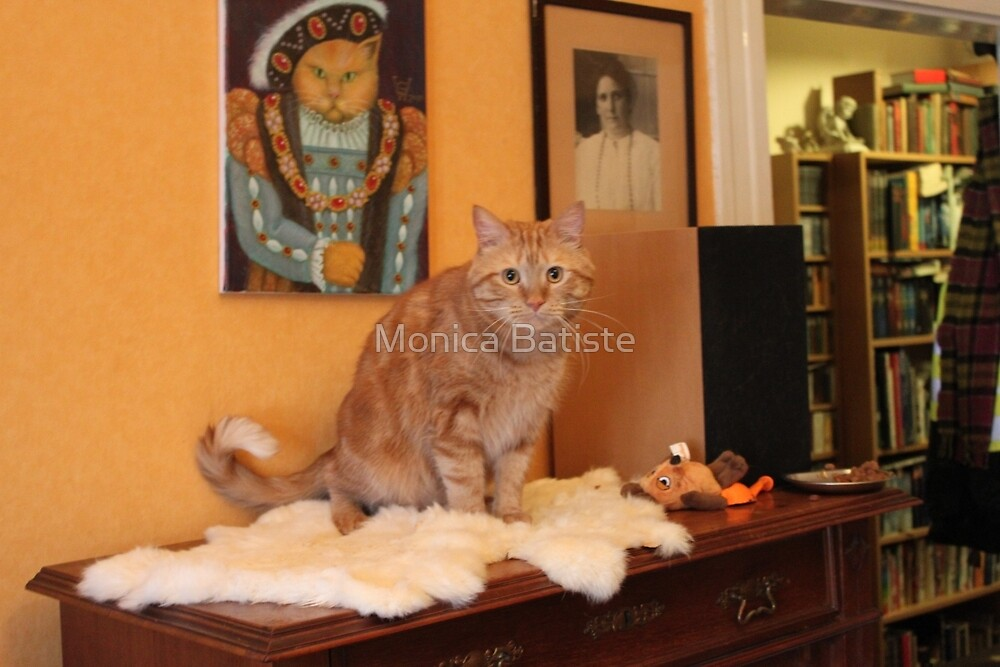 King Henry the cat with his portrait by Monica Batiste