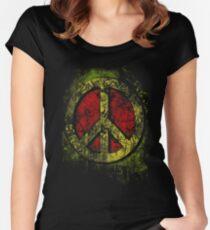 Rasta 3D Peace Sign - One Love - Graffiti - Grunge Fitted Scoop T-Shirt