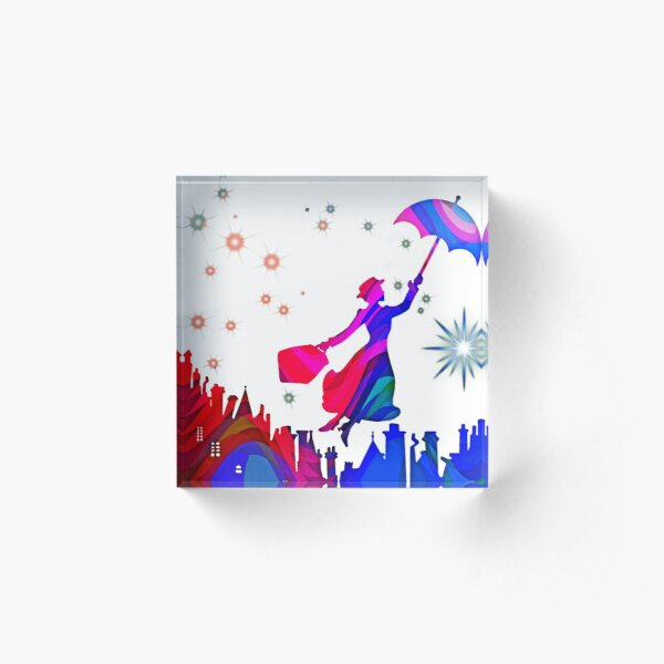 Mary Poppins Watercolor Design  Acrylic Block