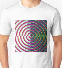 psychedelic geometric polygon pattern in circle shape with pink blue green Unisex T-Shirt