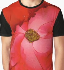 Red Hibiscus Alcohol Ink Graphic T-Shirt