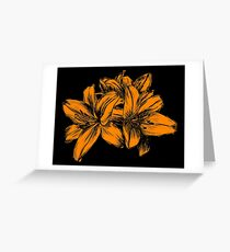 Orange Lilies Screen Print Greeting Card