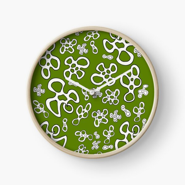 Amoeba apple green black and white pattern Clock