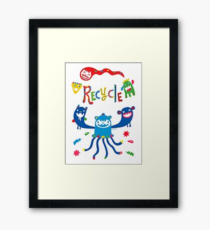 Recycle Monsters   Framed Print