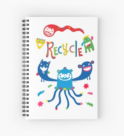 Recycle Monsters   Spiral Notebook