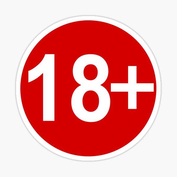 Etiqueta de advertencia de advertencia Restricción de edad 18 Pegatina