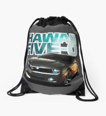 Hawaii Five-O Black Camaro (White Outline) Drawstring Bag