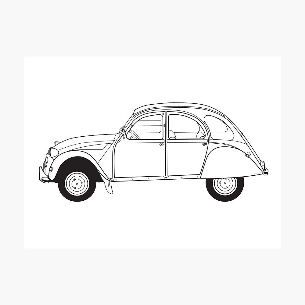 Citroën 2CV Classic Vintage Car Photographic Print