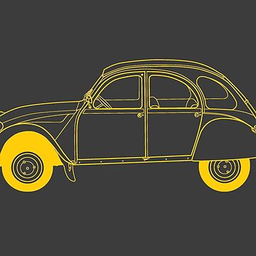 Yellow Citroën 2CV by thedrumstick