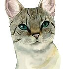 Tabby Cat with Gorgeous Green Eyes Watercolor Portrait by namibear