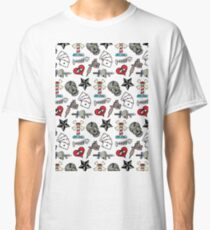 Pattern Traditional Tattooing Style. Tattoo Old School Retro Vintage. Classic T-Shirt