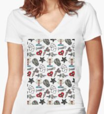 Pattern Traditional Tattooing Style. Tattoo Old School Retro Vintage. Women's Fitted V-Neck T-Shirt