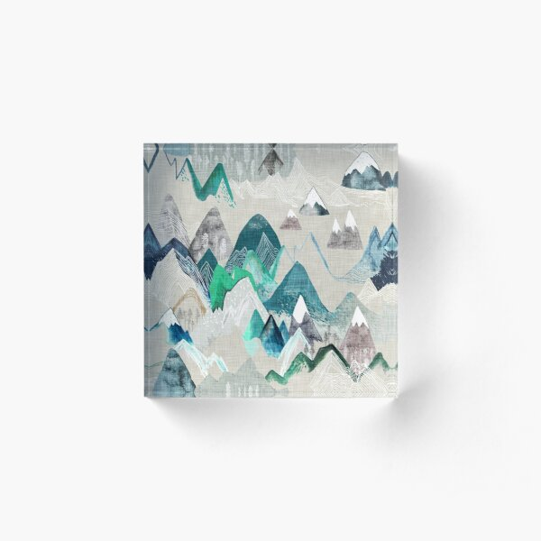 Call of the Mountains (in evergreen)  Acrylic Block